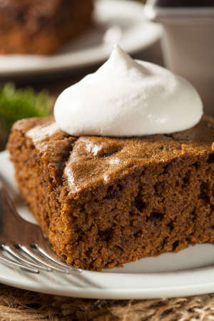 Homemade Brown Gingerbread Cake with Whipped Cream