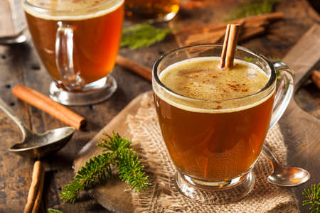 hot drink: Homemade Hot Buttered Rum for the Holidays Stock Photo