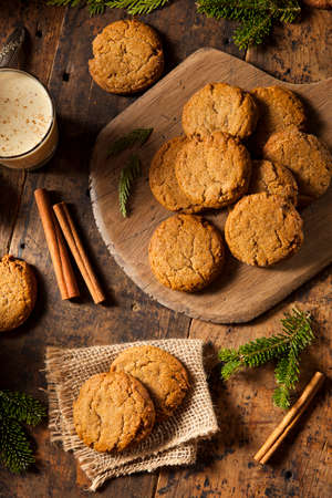 sweet sugar snap: Homemade Brown Gingersnap Cookies for the Holidays Stock Photo
