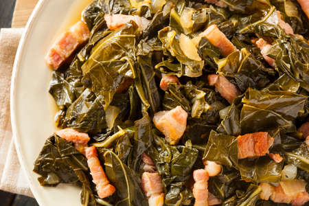 Southern Style Collard Greens with Salt Pork Stock Photo