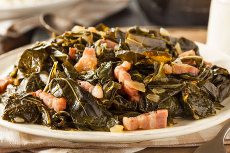 soul food: Southern Style Collard Greens with Salt Pork Stock Photo