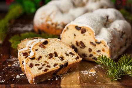 powdered sugar: Festive Christmas German Stollen Bread with Powdered Sugar