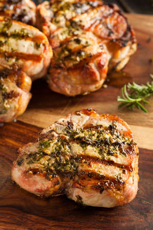 Large Grilled Pork Chop with Basil Lemon Seasonings