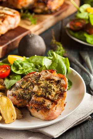 grilled pork chop: Large Grilled Pork Chop with Basil Lemon Seasonings