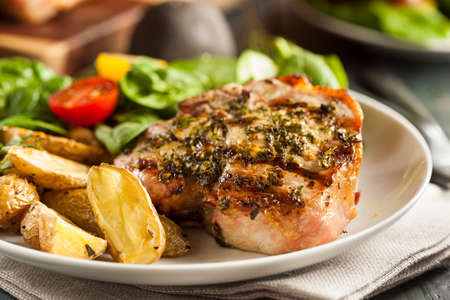 Large Grilled Pork Chop with Basil Lemon Seasonings