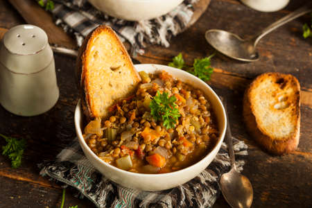 lentil: Homemade Brown Lentil Soup with Carrots Onions and Tomatos
