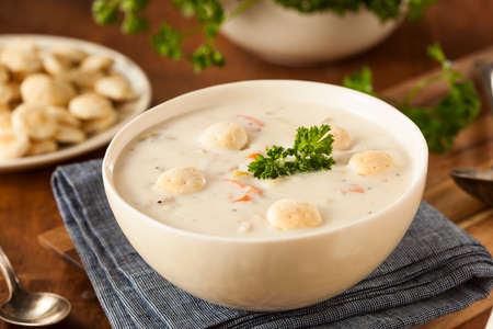 Homemade New England Clam Chowder with Crackers