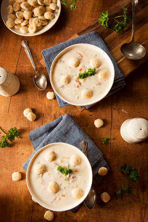 chowder: Homemade New England Clam Chowder with Crackers