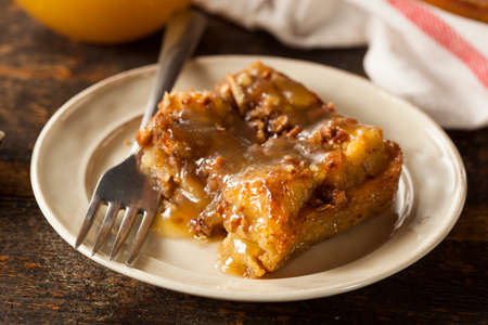 Sweet Homemade Bread Pudding Dessert with Brandy Sauce