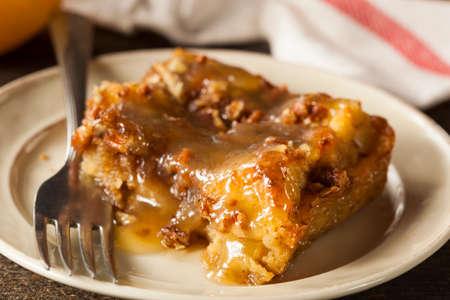 Sweet Homemade Bread Pudding Dessert with Brandy Sauce