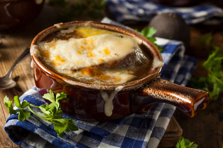 croutons: Homemade French Onion Soup with Cheese and Toast