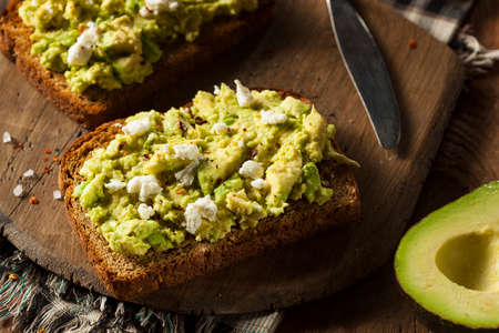 avocado: Healthy Homemade Avocado Toast with Salt and Feta