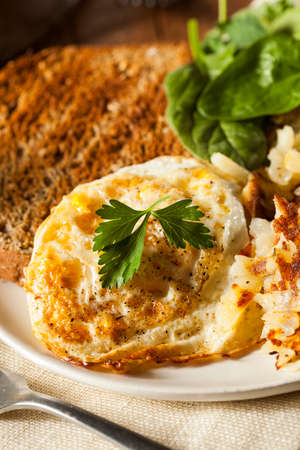 hashbrowns: Organic Homemade Fried Eggs with Toast and Hashbrowns