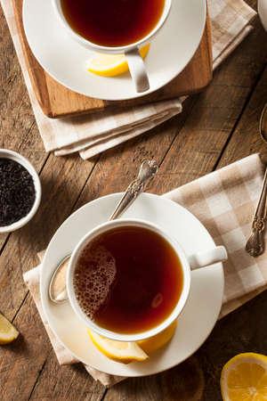 tea hot drink: Hot Organic Black Tea with Fresh Lemon