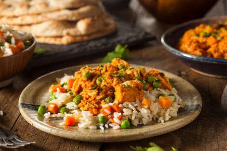 tandoori chicken: Homemade Chicken Tikka Masala with Rice and Naan