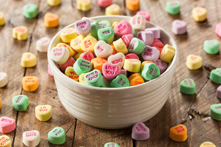 Colorful Candy Conversation Hearts for Valentines Day Zdjęcie Seryjne