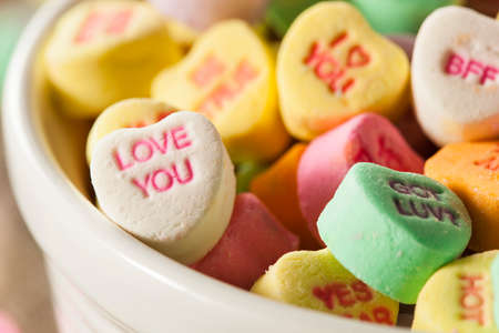 valentine married: Colorful Candy Conversation Hearts for Valentines Day Stock Photo