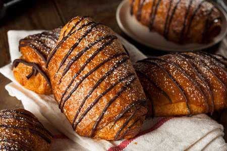 powdered sugar: Homemade Chocolate Croissant Pastry with Powdered Sugar