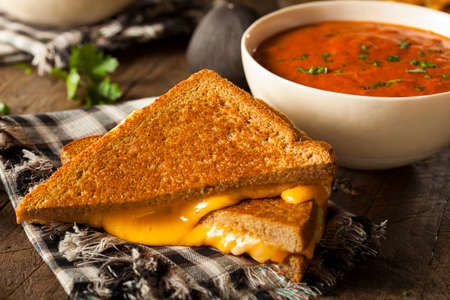 melted cheese: Homemade Grilled Cheese with Tomato Soup for Lunch