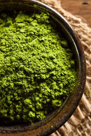 Raw Organic Green Matcha Tea in a Bowl