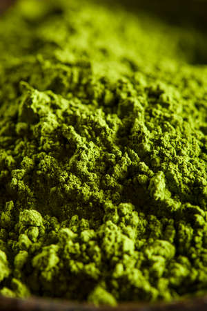 green powder: Raw Organic Green Matcha Tea in a Bowl