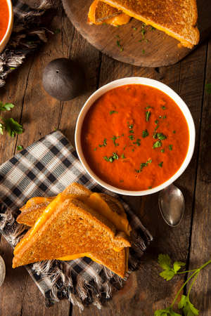 tomato soup: Homemade Grilled Cheese with Tomato Soup for Lunch