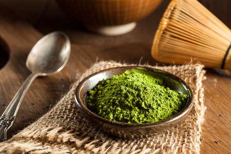 green' white: Raw Organic Green Matcha Tea in a Bowl