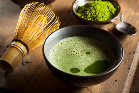 green herbs: Organic Green Matcha Tea in a Bowl