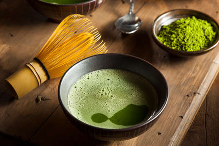 japanese green tea: Organic Green Matcha Tea in a Bowl