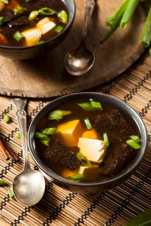 Hot Homemade Miso Soup with Tofu and Seaweed photo