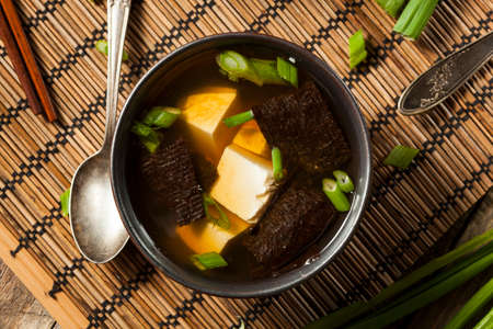 hashi: Hot Homemade Miso Soup with Tofu and Seaweed