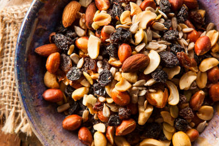 Raw Organic Homemade Trail Mix with Nuts and Fruits Stock Photo