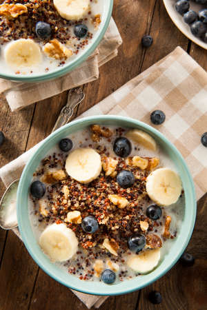 light breakfast: Organic Breakfast Quinoa with Nuts Milk and Berries