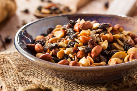 nuts: Raw Organic Homemade Trail Mix with Nuts and Fruits Stock Photo