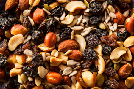 Raw Organic Homemade Trail Mix with Nuts and Fruits Banco de Imagens