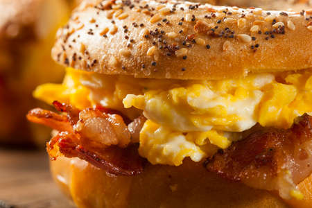 eggs: Hearty Breakfast Sandwich on a Bagel with Egg Bacon and Cheese