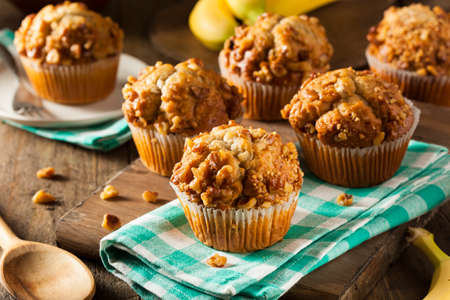 muffin: Homemade Banana Nut Muffins Ready to Eat