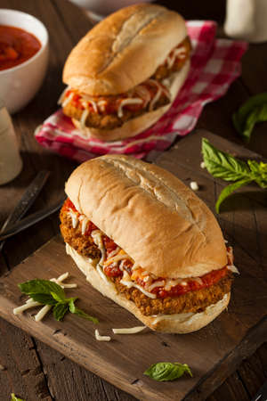 Hearty Homemade Chicken Parmesan Sandwich with Marinara and Cheese Reklamní fotografie