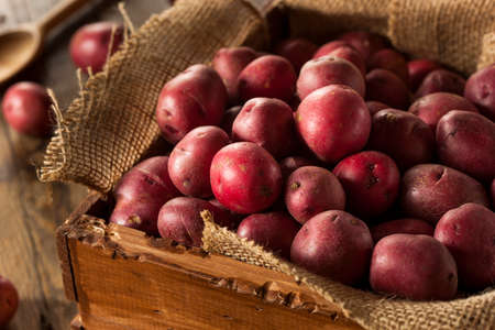 starchy food: Organic Raw Red Potatoes in a Basket