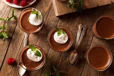 Homemade Dark Chocolate Mousse with Whipped Cream Stock Photo - 35947737