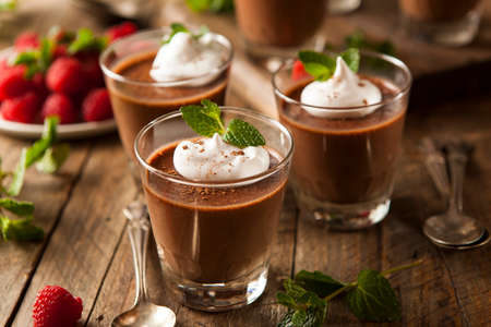 chocolate treats: Homemade Dark Chocolate Mousse with Whipped Cream