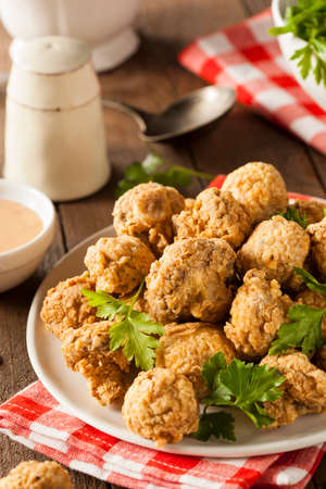 fungi: Homemade Deep Fried Mushrooms with Dipping Sauce
