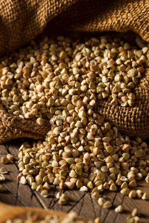 Raw Dry Organic Buckwheat in a Spoon