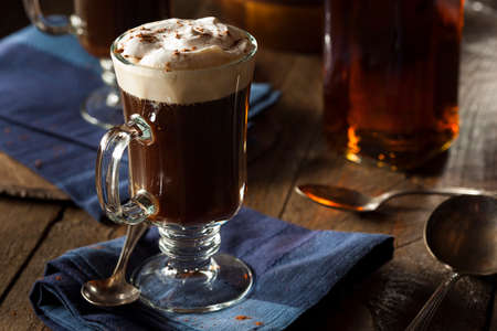 Homemade Irish Coffee with Whiskey and Whipped Cream Stock Photo