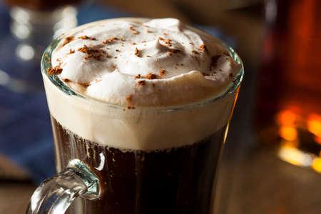 Homemade Irish Coffee with Whiskey and Whipped Cream 스톡 콘텐츠