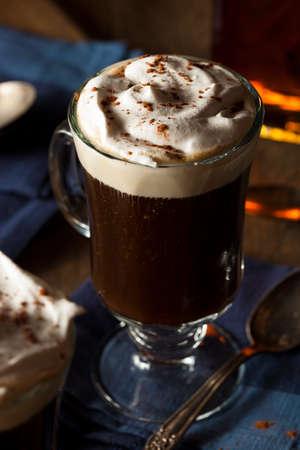 Homemade Irish Coffee with Whiskey and Whipped Cream Stock Photo