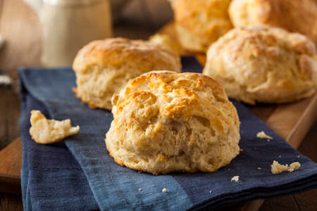 food: Homemade Flakey Buttermilk Biscuits Ready to Eat