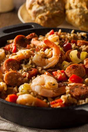 prepared shrimp: Spicy Homemade Cajun Jambalaya with Sausage and Shrimp