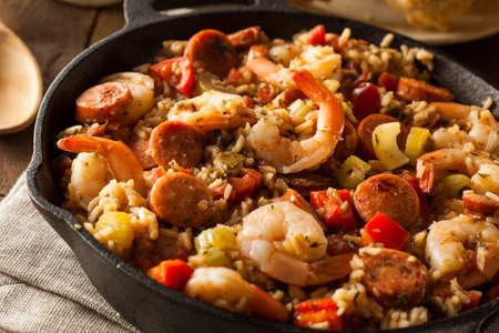 american cuisine: Spicy Homemade Cajun Jambalaya with Sausage and Shrimp