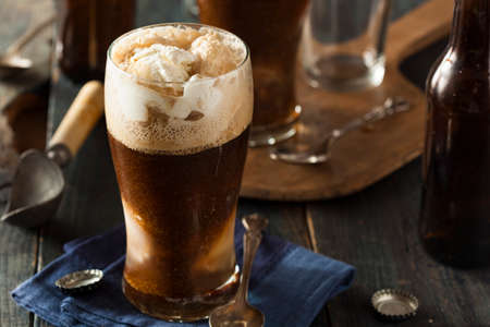 ice cream glass: Frozen Dark Stout Beer Float with Ice Cream